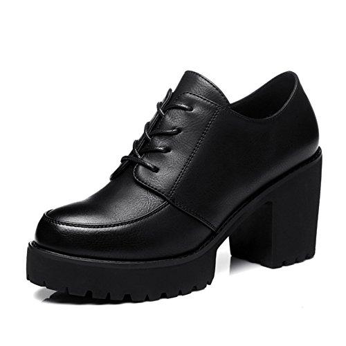 Musta Naisten Kengät Kierros Strappy Paksu Korkokengät qnqwf6pI