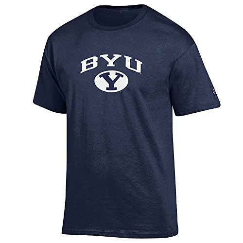 Elite Fan Shop Byu Cougars Men's Short Sleeve Arch Tee, Navy, Medium, BYU Cougars Navy (16853_TC_ARCH )
