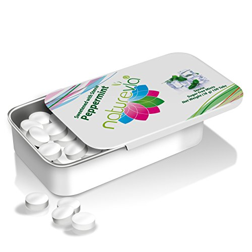 Sugar-Free Mints - Peppermint Flavor (100 tabs, 18 g): Mints Naturally Sweetened with Stevia, Free of: Sugar, Carbs, Calories, Aspartame & Artificial Sweeteners; Dentist Recommended