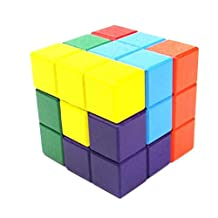 edealing(TM) Natural Wood Classic 6x6x6 3D Tetris Cube Puzzle Brain Trainning Game Education Toys