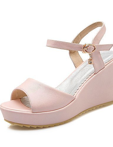 ShangYi Womens Shoes Leatherette Wedge Heel Wedges / Peep Toe Sandals Casual Blue / Pink / White Blue
