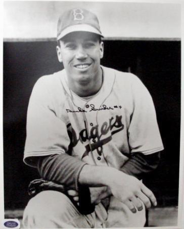 Signed Duke Snider Photograph - 16x20) (Dougout Pose) - Autographed MLB Photos ()