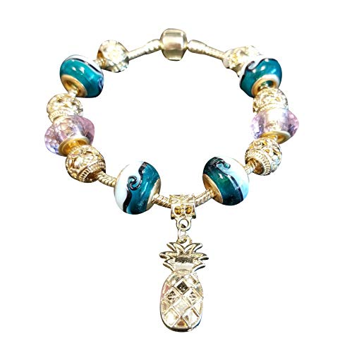 Cheri's Creative Creations Gold and Turquoise Snake Charm Bracelet with Pineapple - Turquoise Bracelets Snake