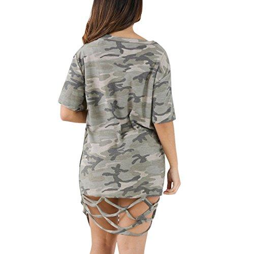 Balai Donne Boho Camouflage Mini Dress scava fuori vestito da sera femminile del partito del cocktail del manicotto a maniche corti