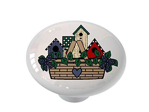 Birdhouse Cabinet Knob - Birdhouse Basket Ceramic Drawer Knob