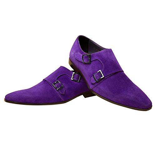 Zapatos Hechos A Mano De Los Hombres De Itailor: Zapatos De Correa De Monk Del Cuero De Gamuza Púrpura Suede Púrpura