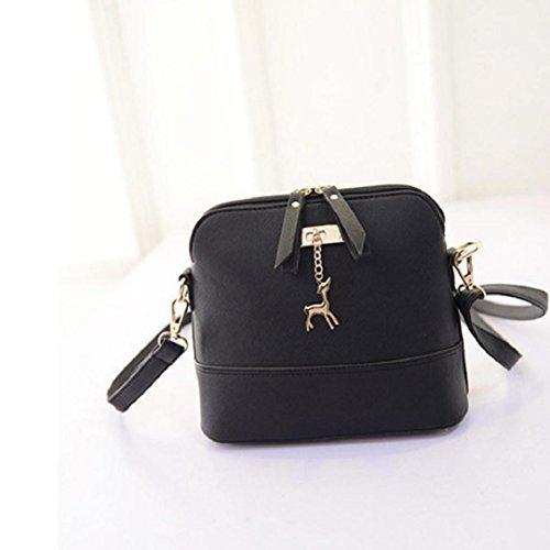 W. Air donne vintage Shell PU borse a tracolla modello borsetta (25*10*19cm) (nero)