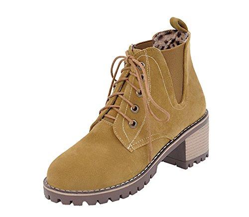 Tacón Grueso Shoes Puntera AgeeMi Botas Mujeres Cerrada Redonda Mini Cordones Claro Marrón 70RqwAT