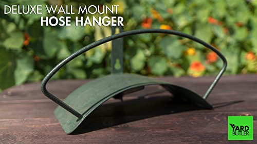 Yard Butler Deluxe Heavy Duty Wall Mount Hose Hanger Easily Holds 125' Of 5/8' Hose Solid Steel Extra Bracing And Patented Design In NEW COLORS and DECORATIVE DESIGNS IHCWM-1 Textured Forest Green