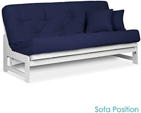 Arden White Futon Set Queen Size – Armless Futon Frame with Mattress Included Twill Navy Blue , More Mattress Colors Sizes Available, Space Saving Modern Sofa Bed Sleeper