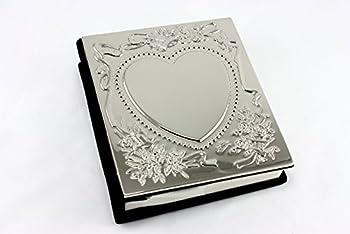 Heart Wedding Photo Picture Album Silver - Engravable