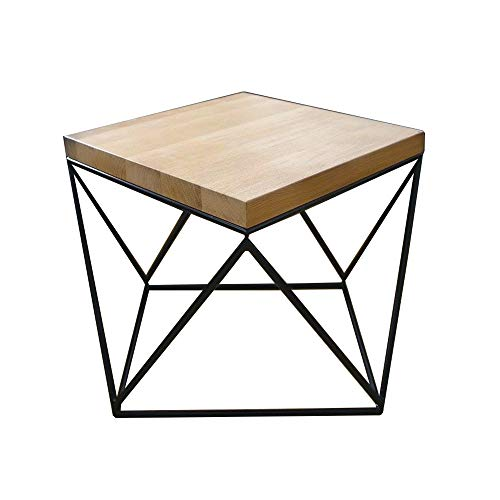 Parkson ment-Nesting Tables Simple Coffee Table Wrought Iron Vintage Solid Wood Coffee Table Wood Sofa Creative Coffee Table Small Square Table Various Sizes Optional (Size : 45x45x60cm) (Square Tables Nesting Iron)