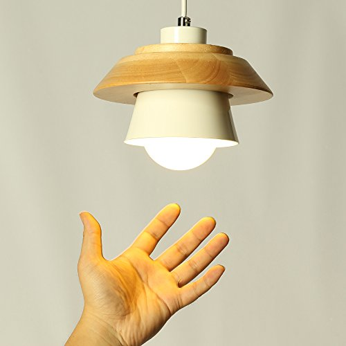 Modern Pendant Light Art Deco Lighting Fixture Loft Pendant Lamp, 1-Light Ceiling Light Adjustable Hanging Height, Ceiling Mounted, Wooden Decoration Style (White) by Chrasy (Image #3)