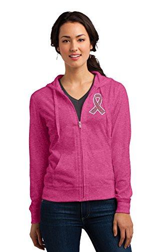 KAMAL OHAVA Breast Cancer Awareness Pink Ribbon Zip Up Hoodie, Large (Pink Ribbon Survivor Sweatshirt)