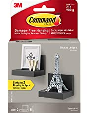 "Command Black 4"" Floating Wall Ledges, 2 pack, Holds 2 lbs (HOM23S-2ES)"