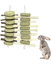 Rabbit Toys,Bunny Chew Toys for Teeth Grinding, Natural Apple Chewing Sticks with Grass Balls Improve Pets Dental Health for Rabbit, Chinchillas, Guinea Pigs, Hamsters, Totoro, Rodent(2 Pack)