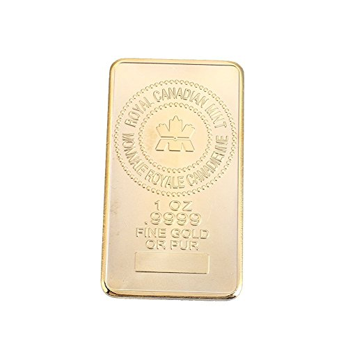 Rosepoem BigFamily Bullion Coin Bar Challenge Gold Square 24K Gold-Plated Ornaments Art Collection ()