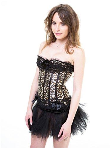Robe Corset Léopard Ktc Tutu - Burlesque - Moulin Rouge Peut Peut Nuit De Poule - 6 Tailles Uk 16 Uk