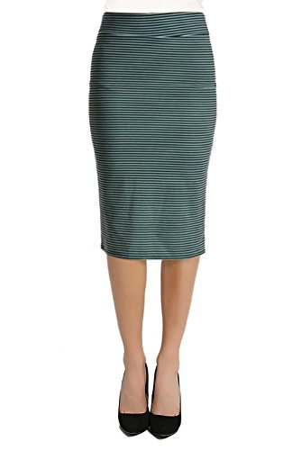 [Women's Below the Knee Pencil Skirt for Office Wear - Made in USA Pin Stripe Black/Mint Small] (Pinstripe Spandex Skirt)