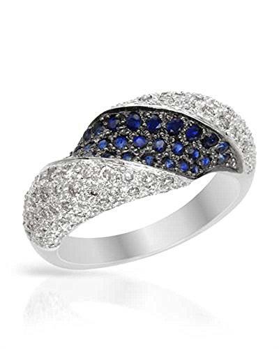 14K White Gold Sapphire & Round Diamond Ring