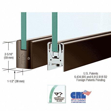 CRL Dark Bronze Low Profile Door Rail Without Lock - 8'' Patch