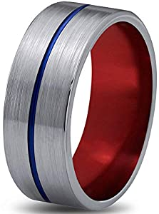 Chroma Color Collection Tungsten Wedding Band Ring 8mm for Men Women Red Blue Grey Center Line Flat Cut Brushed Size 8.5