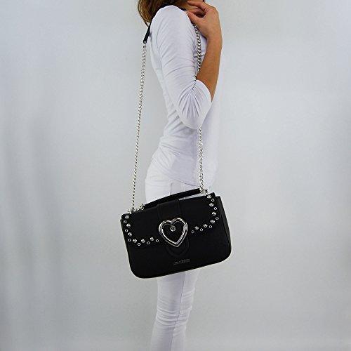 Borsa tracolla Love Moschino nero con decorazioni cuore argento