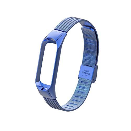 Finedayqi ❤ Luxury Stainless Steel Metal Wrist Strap Wristband for Xiaomi Mi Band 3 Watch (Blue) by Fineday (Image #2)