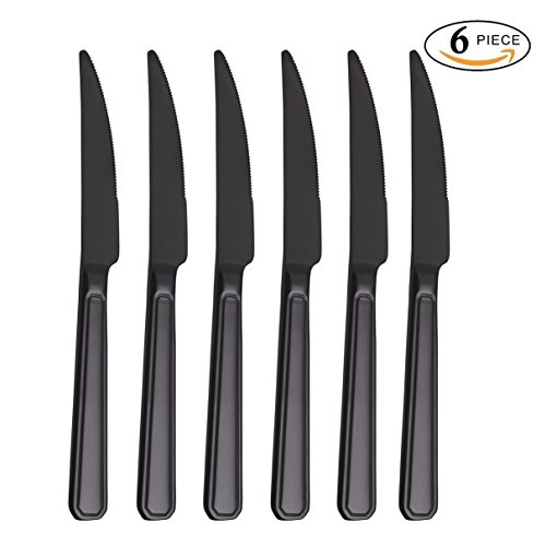 Free Steak Knives - Steak Knife Set Black, Onlycooker Heavy Duty Knives Stainless Steel 6 Piece 9-inch Table Flatware Silverware Dishwasher Safe Use for Home Kitchen or Restaurant