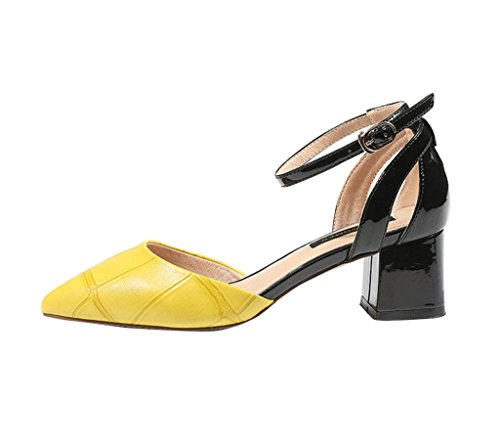 Lady Pointed-Toe Ankle Sandals Baotou Roman Shoes Fashion Sexy Low Heels Casual Shoes (Color : Yellow, Size : 37)