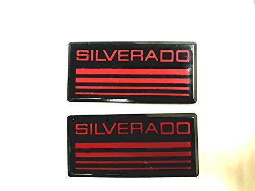 (Auteal (CV) 2X Silverado Cab Emblem Flag Badge Side Pillar 88 89 90 91 for Chevy Suburban Emblem Badge For Chevy Silverado Suburban Colorado (Red))