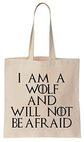 I Am A Wolf And Will Not Be Afraid Quote Sacchetto di cotone tela di canapa