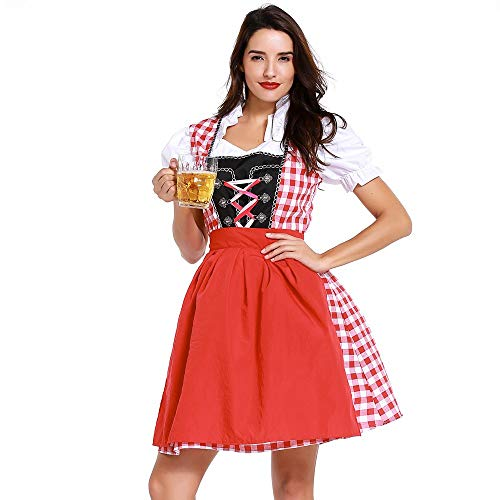 CCatyam Oktoberfest Dress Women Girl, Costume Beer Maid Bandage Outfit German Traditional Party Red ()