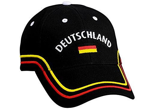 Deutschland EM WM Fancap Europameisterschaft zb für Fußball Fan Fans - Tolle Cap Mütze Hut Accessoires schwarz rot gold