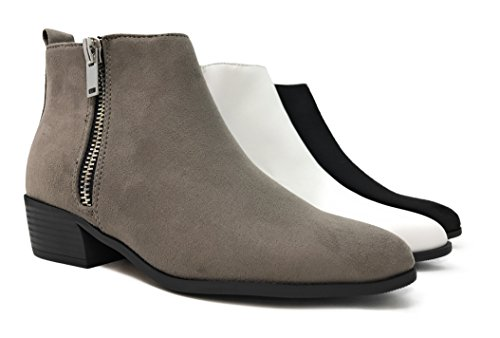City classified MVE Shoes Cute Womens Pointed Toe Slip on Ankle Boot -Side Zip Up Low Heel Gry Su*s VGac6U