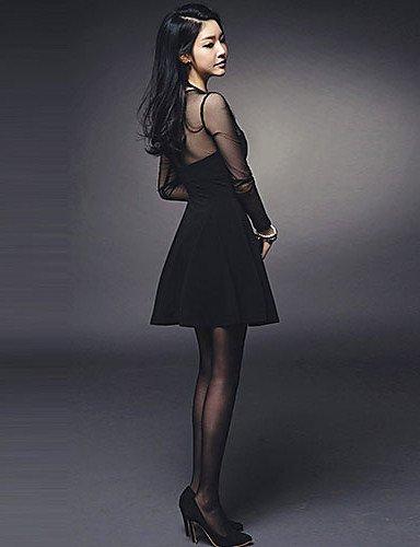 PU&PU Robe Aux femmes Gaine Sexy,Mosaïque Col Arrondi Au dessus du genou Polyester , black-one-size , black-one-size
