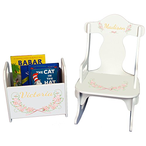 MyBambino Personalized Floral Garland Book Caddy and Puzzle Rocker Set