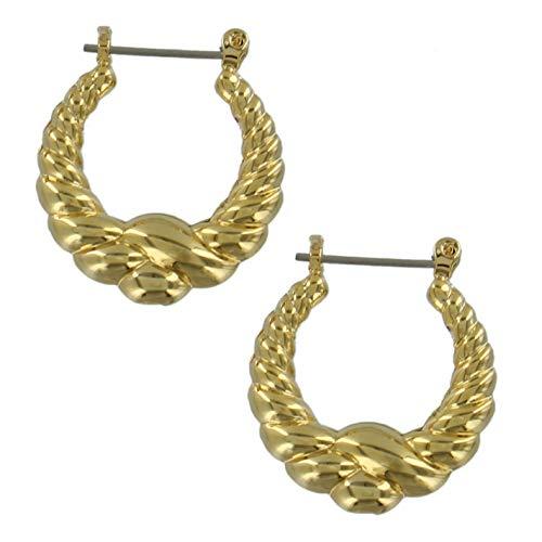 Small Pierced Earrings Ribbed Twisted Rope Circle Hoop Huggie Dangle Gold Tone 1 Earrings For Women Set ()