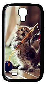 Brian114 Samsung Galaxy S4 Case, S4 Case - Black Hard PC Cases for Samsung Galaxy S4 I9500 Cute Kitty Ultra Fit for Samsung Galaxy S4 I9500