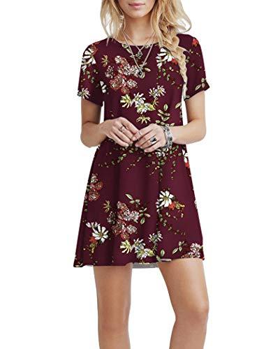 KORSIS Women's Summer Casual T Shirt Dresses Short Sleeve Swing Dress Pockets 6
