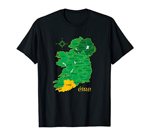 Cork Cotton T-shirt - Cork Ireland T Shirt Irish County Map Eire Irish Travel