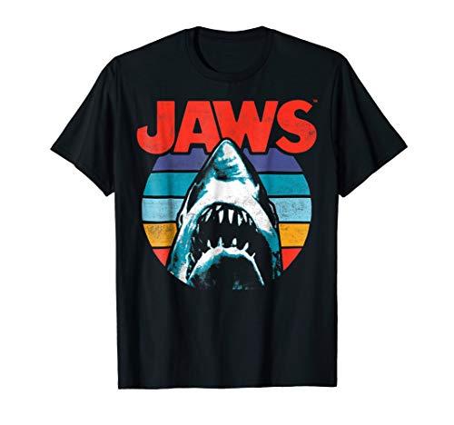 Jaws Retro Colors Shark Rainbow Logo Graphic T-Shirt