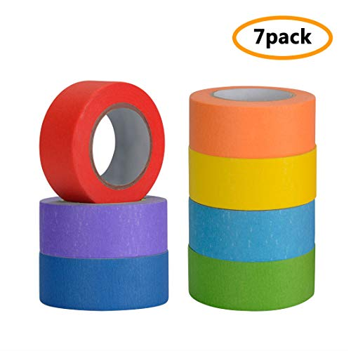 Colored Masking Tape, 7 Pcs Colored Painters Tape with Rainbow Colors for Kids Craft Art Projects in 1 Inch x 48ft (25mm x 15m) Labelling or Coding Rolls for Home Decoration, Office Supplies