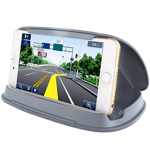 Car Phone Mount, Car Cell Phone Holder for Samsung Galaxy S8, iPhone 7 7 Plus and Other 3-6.8 Inch GPS Navigation Devices-Grey -