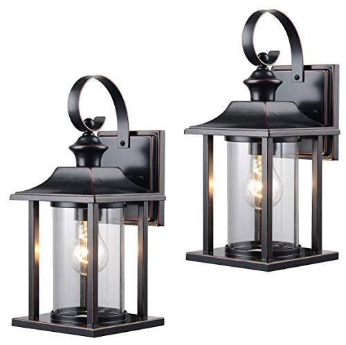 Twin Pack - Designers Impressions 73479 13-1/4-by-6-Inch Aluminum Outdoor Light Fixtures, Oil Rubbed Bronze