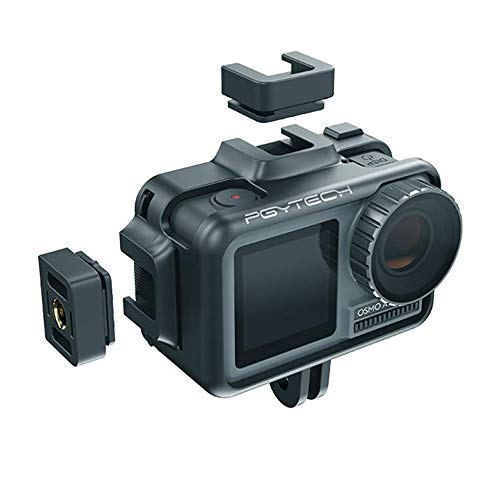 Anbee Osmo Action Camera Protective Cage Vlogging Accessory Frame Housing Case Shell with 2 Cold Shoe Mount for DJI Osmo Action Camera