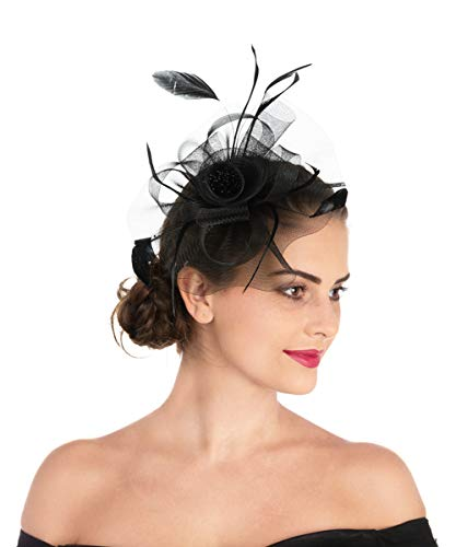 Lucky Leaf Women Girl Fascinators Hair Clip Hairpin Hat Feather Cocktail Wedding Tea Party Hat (7-Black) ()