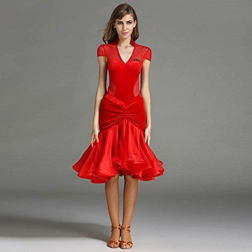Cubierta De Moderno Gaomi Gran Y Danza Hilado Competencia Péndulo Rojo Vestido Ztxy Manga Gasa Latino Tango Moderna Vals Señora Trajes Baile Falda qIYIT8