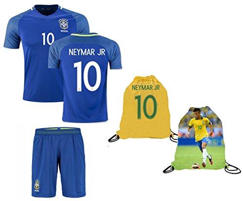 Neymar Jersey Brazil Away Short Sleeve Kids Soccer Jersey Brasil Neymar Jr Soccer Gift Set Youth Sizes ✓ Premium Quality ✓ Soccer Backpack Gift Packaging (Youth Large (10-13 Years Old))