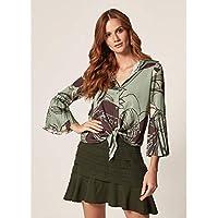 Camisa Cetim Estampa Floral Green